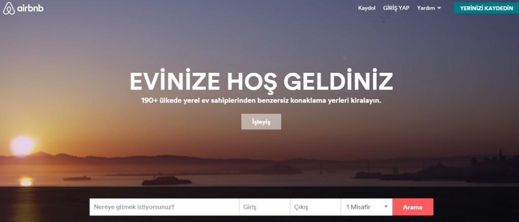 Airbnb giriş sayfası